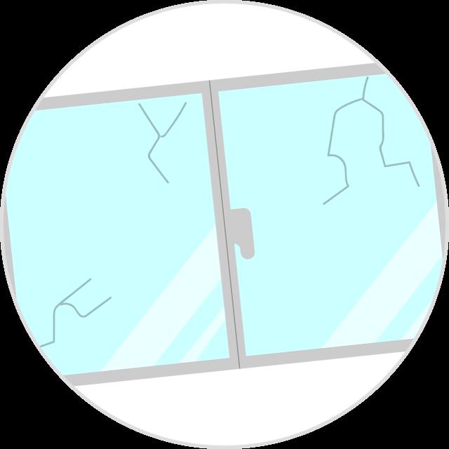 施工中に建物の窓・雨戸などを破壊してしまった